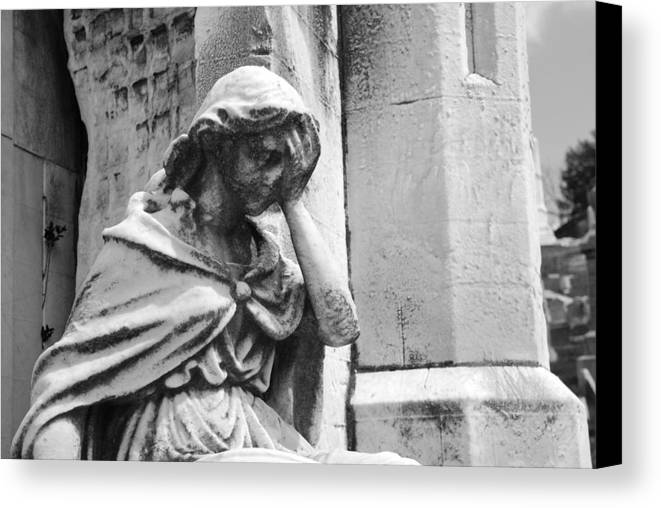 Cemetery Canvas Print featuring the photograph Grieving Statue by Jennifer Ancker