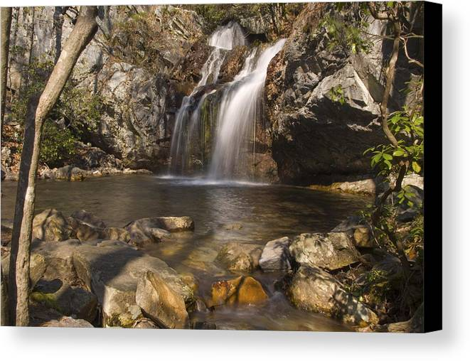 Waterfall Canvas Print featuring the photograph High Falls Talledega National Forest Alabama by Charles Beeler