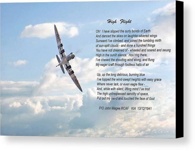 Aircraft Canvas Print featuring the digital art High Flight by Pat Speirs