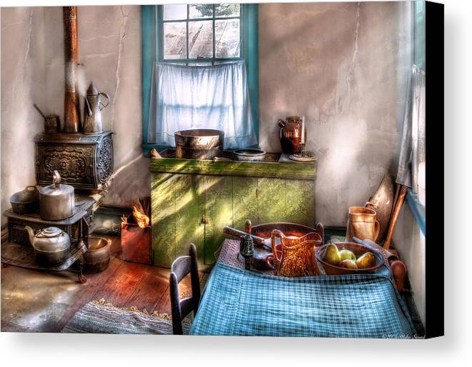 Savad Canvas Print featuring the photograph Kitchen - Old Fashioned Kitchen by Mike Savad