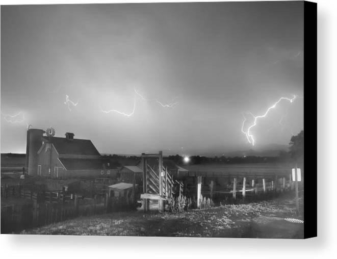 Lightning Canvas Print featuring the photograph Mcintosh Farm Lightning Thunderstorm View Bw by James BO Insogna