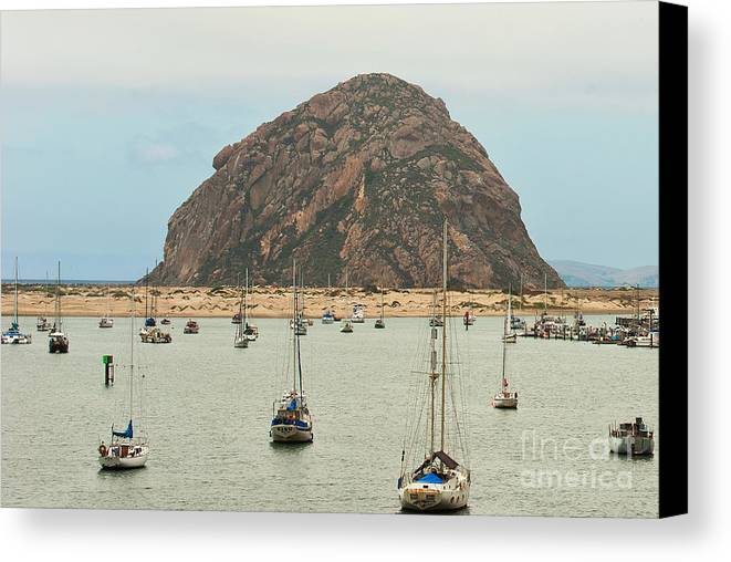 Morro Bay Ca Canvas Print featuring the photograph Morro Bay Rock At Dawn by Artist and Photographer Laura Wrede
