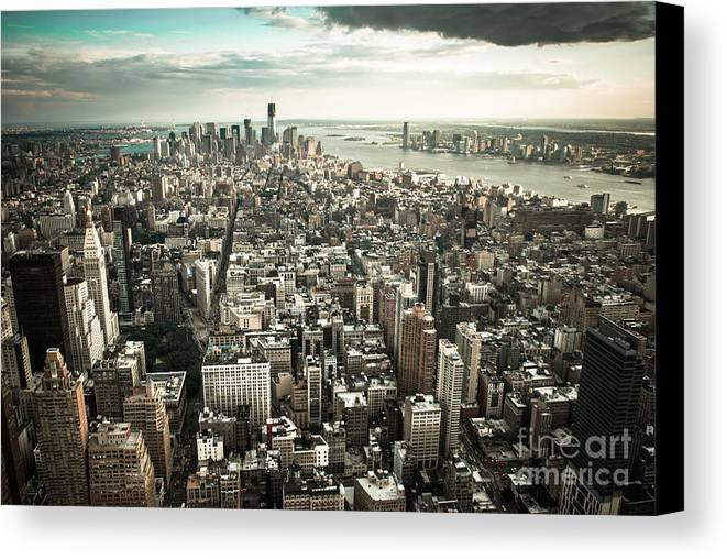 Manhatten Canvas Print featuring the photograph New York From Above - Vintage by Hannes Cmarits