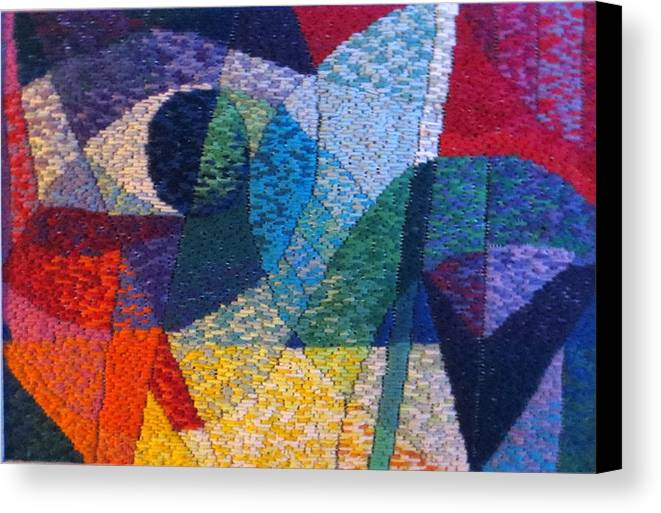 Abstract Expressionist Needlepoint Canvas Print featuring the tapestry - textile Nocturne 1 by Diane Fine