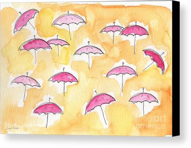 Umbrellas Canvas Print featuring the painting Pink Umbrellas by Linda Woods