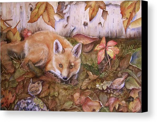 Fox Canvas Print featuring the painting Three's A Crowd by Patricia Pushaw