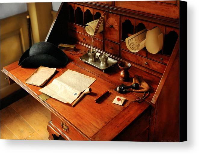 Savad Canvas Print featuring the photograph Writer - The Desk Of A Gentleman by Mike Savad