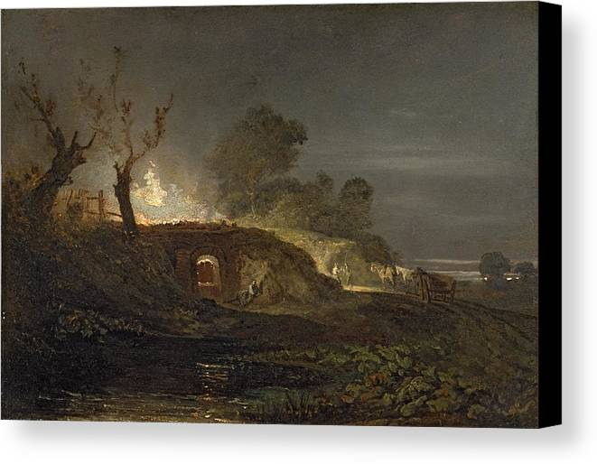 Xyc145616 Canvas Print featuring the photograph A Lime Kiln At Coalbrookdale by Joseph Mallord William Turner