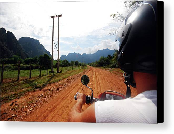 Adult Canvas Print featuring the photograph Adventure Motorbike Trip In Laos by Thepurpledoor