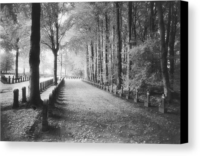 World War I; One; Wwi; Ww1; 1st; First; Great; 1; Wooded; Woods; Wood; Rows; Tombstones; Gravestones; War Tomb Canvas Print featuring the photograph Cemetery At Ypres by Simon Marsden