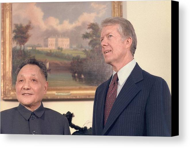 History Canvas Print featuring the photograph Deng Xiaoping And Jimmy Carter by Everett