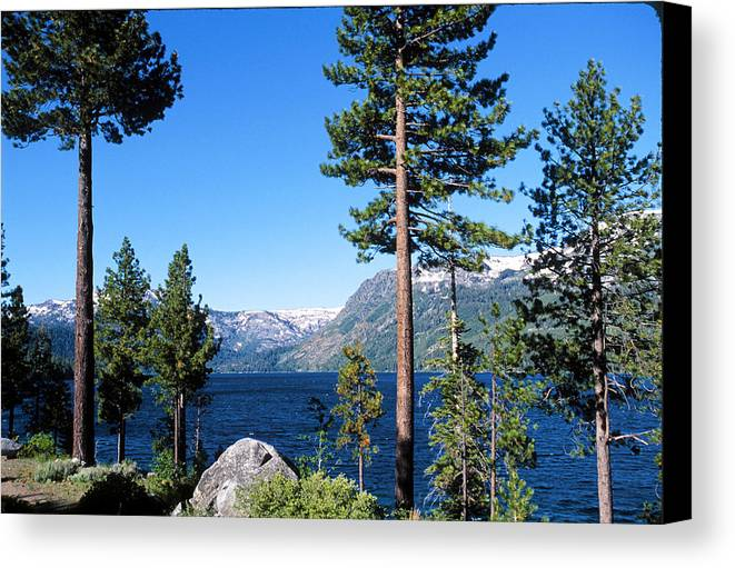 Horizontal Canvas Print featuring the photograph Fallen Leaf Lake Area With Pine Trees In Foreground, Lake Tahoe, California, Usa by Ellen Skye