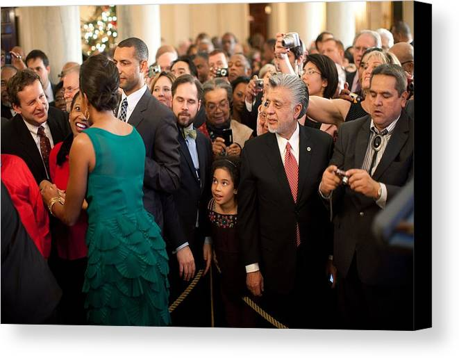 History Canvas Print featuring the photograph First Lady Michelle Obama Greets Guests by Everett