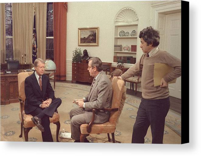 History Canvas Print featuring the photograph Jimmy Carter Prepares For An Interview by Everett