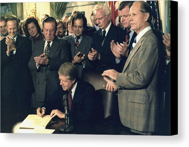 History Canvas Print featuring the photograph Jimmy Carter Signs Airline Deregulation by Everett