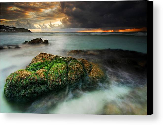 Seascape Canvas Print featuring the painting Lands End by John Chivers