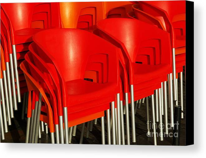 Bar Canvas Print featuring the photograph Stacked Chairs by Carlos Caetano
