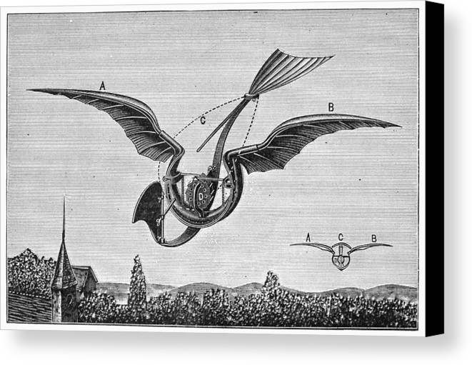 1870 Canvas Print featuring the photograph TrouvÉs Ornithopter by Granger