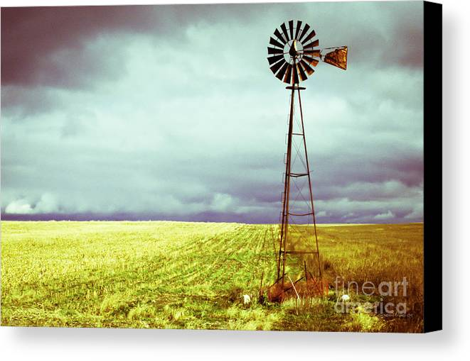 Canada Canvas Print featuring the photograph Windmill Against Autumn Sky by Gordon Wood