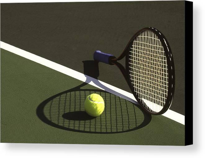 Tennis; Racquet; Ball; Balls; Shadow; Game; Games; Sport; Sports; Shadow; Tennis Ball; Tennis Racquet; Competition Canvas Print featuring the photograph 10sne1 by Gerard Fritz