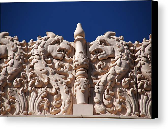 Architectur In Santa Fe Canvas Print featuring the photograph Architecture At The Lensic Theater In Santa Fe by Susanne Van Hulst