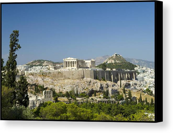 Athens Canvas Print featuring the photograph Athens by Julia Bridget Hayes