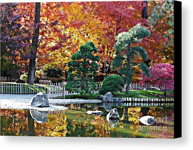 Autumn Canvas Print featuring the photograph Autumn Glow In Manito Park by Carol Groenen