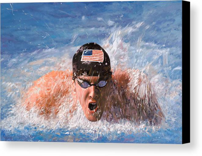 Swim Canvas Print featuring the painting Il Nuotatore by Guido Borelli