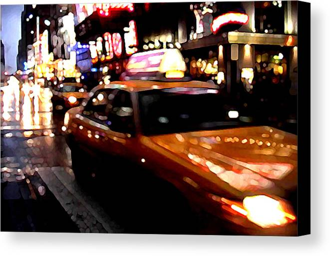 Taxi Canvas Print featuring the painting Manhattan Taxis by Jose Roldan Rendon