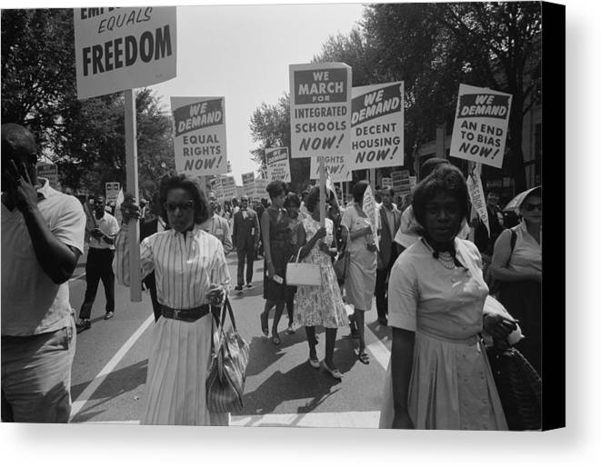 History Canvas Print featuring the photograph March On Washington. African Americans by Everett