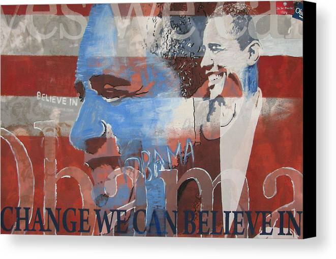 Obama Art Canvas Print featuring the mixed media Obama Yes by Xavier Carter