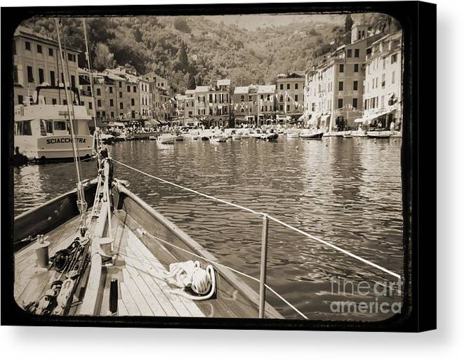 Portofino Puerto Fino Italy Sailboat Harbor Solway Maid Dustin Ryan Water Buildings Black And White Canvas Print featuring the photograph Portofino Italy From Solway Maid by Dustin K Ryan