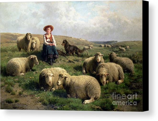 Shepherdess With Sheep In A Landscape By C. Leemputten (1841-1902) And Gerard Canvas Print featuring the painting Shepherdess With Sheep In A Landscape by C Leemputten and T Gerard