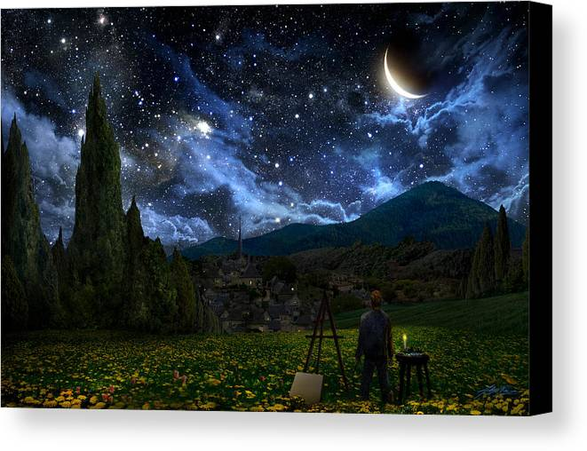Van Gogh Canvas Print featuring the painting Starry Night by Alex Ruiz