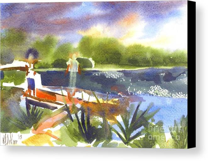 The Ideal Catch Canvas Print featuring the painting The Ideal Catch by Kip DeVore