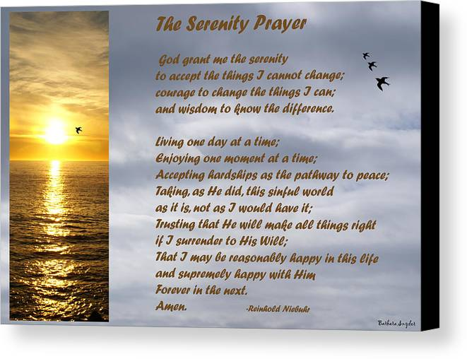 Barbara Snyder Canvas Print featuring the digital art The Serenity Prayer by Barbara Snyder