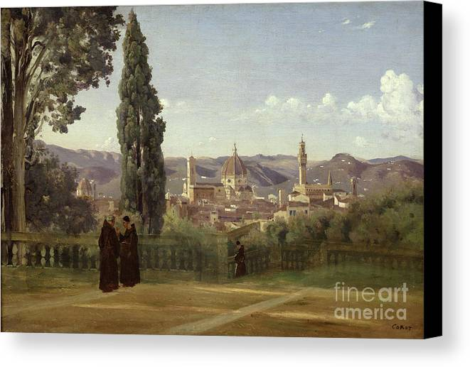 View Canvas Print featuring the painting View Of Florence From The Boboli Gardens by Jean Baptiste Camille Corot