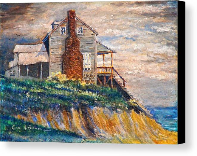 Beach Canvas Print featuring the painting Abandoned Beach House by Dan Redmon