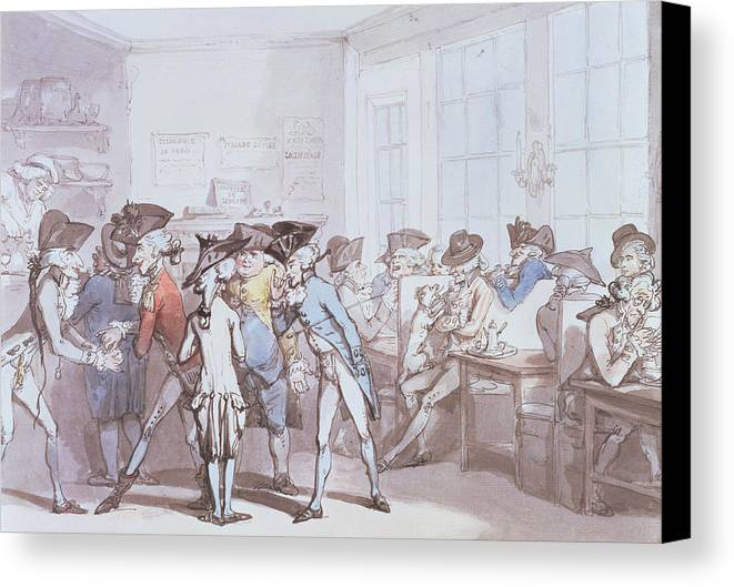 Bar Canvas Print featuring the drawing A French Coffee House by Thomas Rowlandson