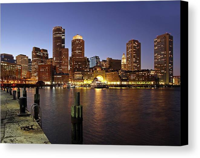 Boston Canvas Print featuring the photograph Boston Skyline And Fan Pier by Juergen Roth