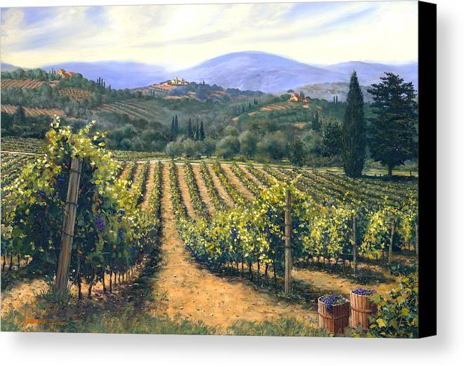 Chianti Vines Canvas Print featuring the painting Chianti Vines by Michael Swanson