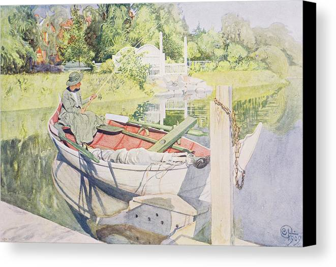 Sunshine Canvas Print featuring the painting Fishing by Carl Larsson