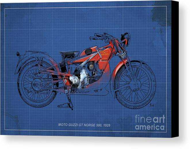 Le Mans Canvas Print featuring the digital art Moto Guzzi Gt Norge 500 1928 by Pablo Franchi