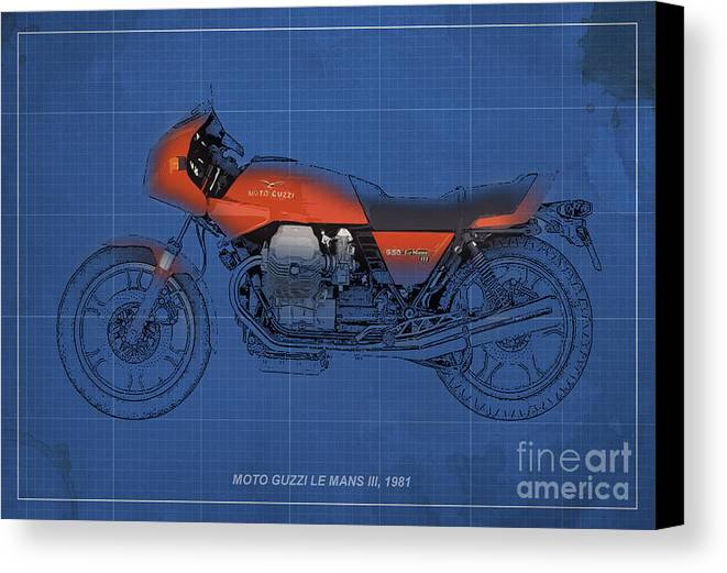 Le Mans Canvas Print featuring the mixed media Moto Guzzi Le Mans IIi 1981 Vintage Style by Pablo Franchi