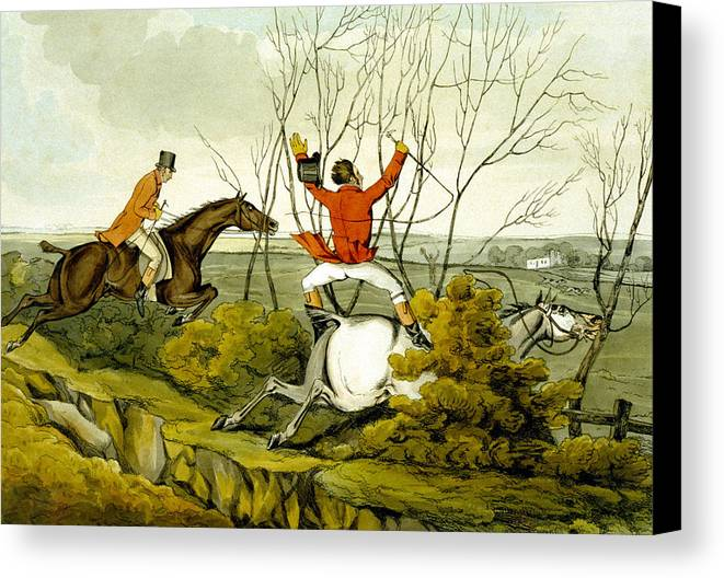 Ditch; Jumping; Grey; Horse; Hunter; Hunting; Rider; Horseback; Unseated; Unhorsed; Falling; Landscape; Accident; Sport; Comical; Humorous Canvas Print featuring the painting Plunging Through The Hedge From Qualified Horses And Unqualified Riders by Henry Thomas Alken
