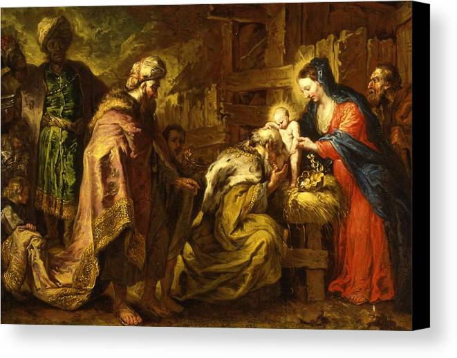Adoration; Magi; Nativity; Wise Men; Three Kings; Caspar; Melchior; Balthasar; New Testament; Jesus Christ; Baby; Infant; Child; Kneeling; Blessing; Kissing; Saint; Saints; St. Mary; Madonna; Virgin; St. Joseph; Manger; Stable; Baroque; Nativities Canvas Print featuring the painting The Adoration Of The Magi by Orazio de Ferrari