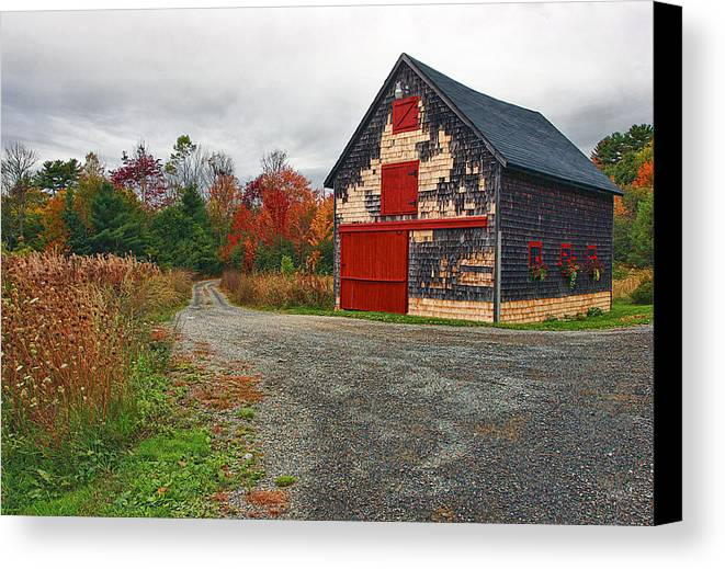 Architecture Canvas Print featuring the photograph The Little Barn by Marcia Colelli