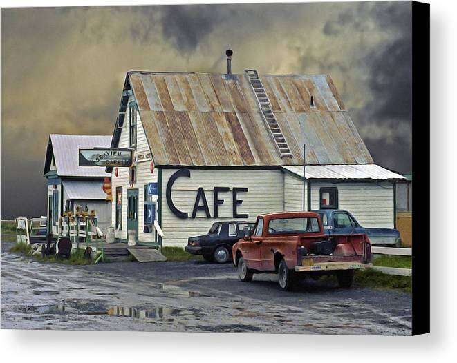 Alaska Canvas Print featuring the photograph Vintage Alaska Cafe by Ron Day