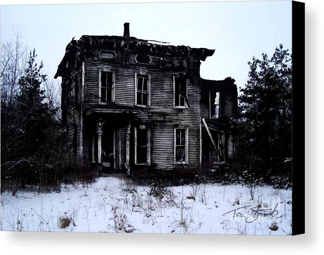 Haunted House Canvas Print featuring the photograph Winter Home by Tom Straub