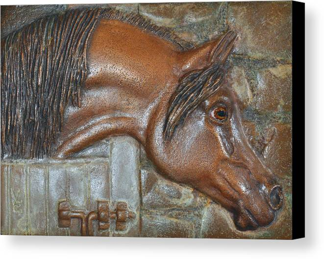 Arabian Canvas Print featuring the relief Bronze Arabian Horse Relief by Valerie Evanson